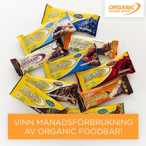 Just nu kan du vinna en månadsförbrukning av Organic Foodbar