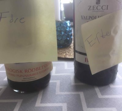 Rödbetsjuice före och rödvin efter loppet