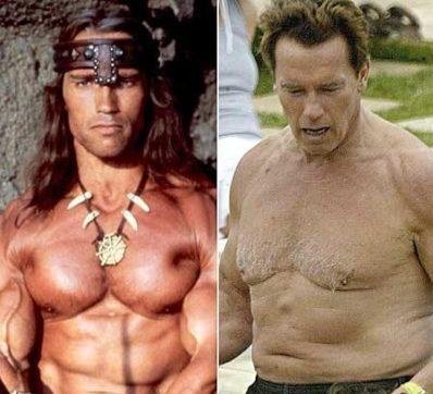 Arnold före och efter träning