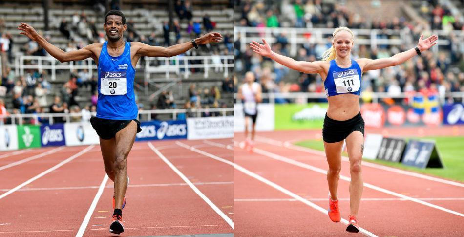 Banrekord och suveräna SM guld för Adhanom och Mikaela i Stockholm Marathon